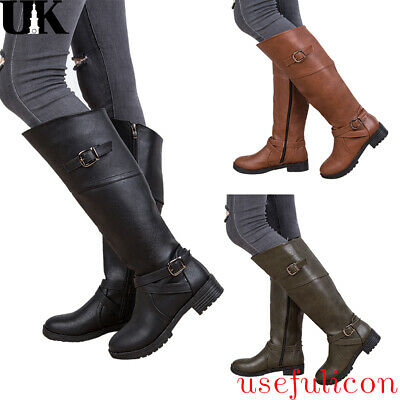 Womens Buckle Zip Up Low Heel Mid Calf Under Knee Ladies Riding Boots Shoes Size
