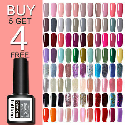 8ml LEMOOC UV Gel Polish Glitter Red Soak Off Gel Nail Varnishes Base Top Coat