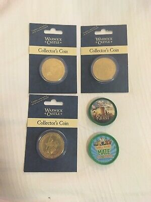 Chessington And Merlin Pop Badges  And 3 Warwick Castle Pop Badge Coins