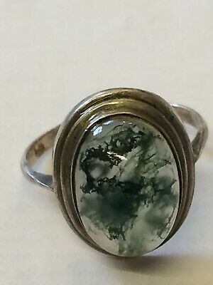 Antique Vintage Stamped 925 Sterling Silver Ring With Large Moss Agate Stone,G/C