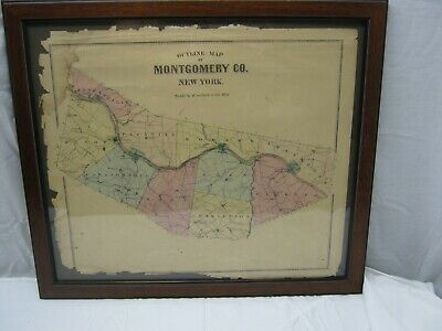 Framed 1868 Outline Map of Montgomery Co.,NY Published by Stranahan & Nichols
