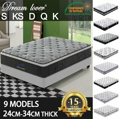 DREAM LOVER Mattress Queen Double King Single Pocket Spring Foam Bed