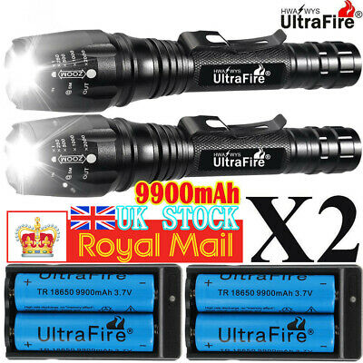 900000LM T6 LED Rechargeable High Power Torch Flashlight Lamps Light & Charger ~