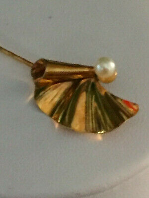Vintage 9ct solid yellow gold pearl stick pin