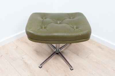 Mid Century Danish Vintage Buttoned Leather Skipper Foot Stool Chromed Steel 937