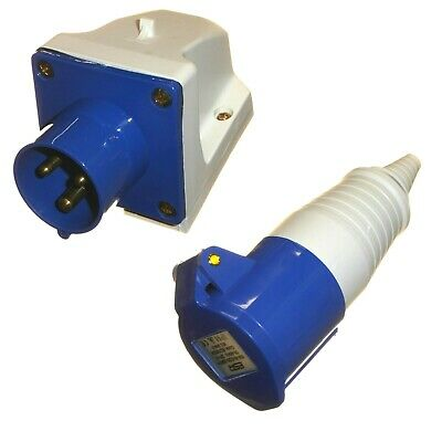 16 Amp 3 Pin 240v Appliance Inlet Plug Socket and Coupler 16A IP44 Single Phase