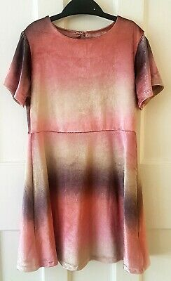 Girls Next Velvet Pink Dress, Age 7 Years, Short Sleeved, Party/Wedding/Occasion