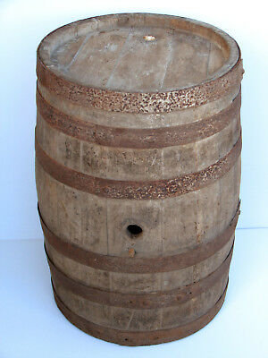 Old Antique Primitive Wooden Wood Barrel Vessel Keg Flask Cask Wine Brandy Big