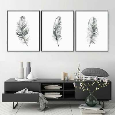 Feather Prints Set Of 3 Grey Home Decor Watercolor Wall Art Poster A4 Angels