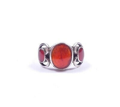 Vintage Carnelian Three Stone Ring 925 Sterling Silver Oval Stones 4.9g