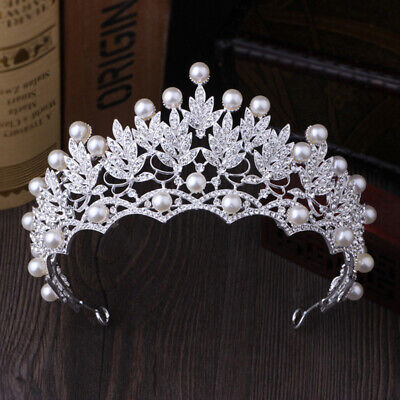 2019 New Fashion Wedding Crystal Pearl Crowns Rhinestone Tiara Brides HairbandJ7