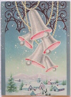 Vintage Christmas Card UNUSED Glitter PINK Bells Ring Over Town Glitter Snow