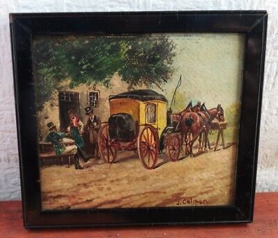 Antique 19th century Victorian OIL PAINTING signed J.COLMAN MINIATURE 2 of PAIR