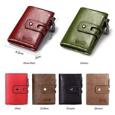Women PU Leather Wallet Credit Card Holder Clutch Bifold Coin Pocket Zip Be D9O6