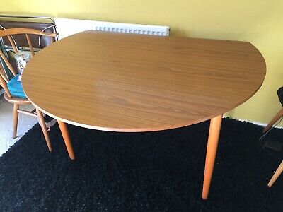 SCHREiBER retro round dining table draw leaf top detachable legs vintage