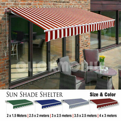 Retractable Awning Manual Garden Canopy Patio Sun Shade Shelter Outdoor Porch UK