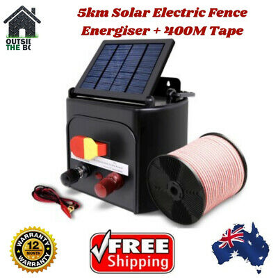 5km Solar Electric Fence Energiser 400m Tape Charger Giantz 0.15j Farm Insulator