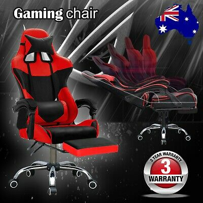 Office Executive Chair Computer Chairs Footrest Gaming Racer Seat Black & Red