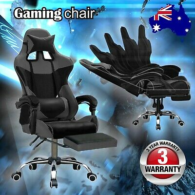 Gaming Chair Office Executive Chairs Recliner Leather Racing Seat Black & Grey