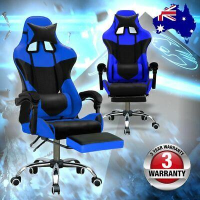 Office Executive Chair Computer Chairs Footrest Gaming Racer Seat Black & Blue