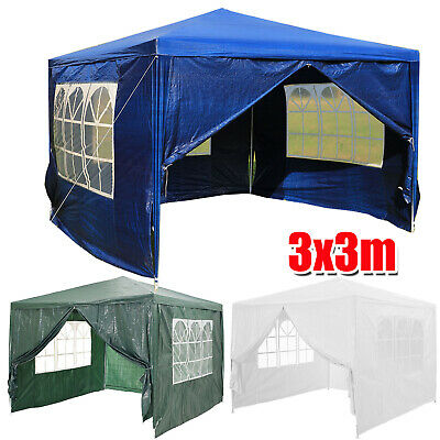 3x3m Heavy Duty Stronger Gazebo Waterproof Fully Garden Canopy Tent With 4 Sides