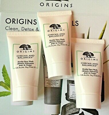 3 x Origins Checks and Balances Frothy Face Wash 30ml (90ml) Size - New