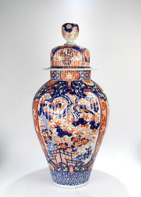 Very Very Large Antique Japanese Imari Porcelain Floor Vase & Cover or Urn - PC