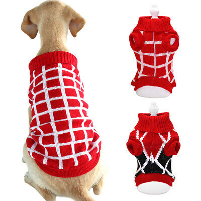 Knitted Dog Sweater Chihuahua Clothes Winter Knitwear Pet Puppy Cat Jumper Red