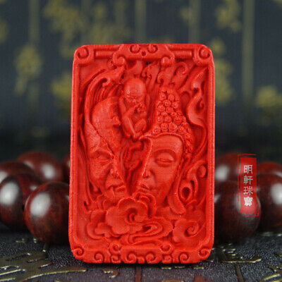 Natural Red Cinnabar Carving Lacquer Chinese Half Buddha Half Devil Pendant