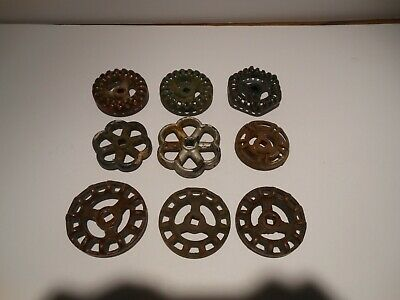 Lot of 9 Antique/Vintage Water Valve Metal Handles Faucet Knobs Industrial Steam