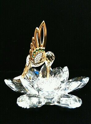 "SWAROVSKI CRYSTAL LARGE HUMMINGBIRD FLOWER w/ Original Box 4""(Acro) x 4 3/4"" (H)"