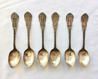 6 Antique Teaspoons MS Benedict Mfg Co XII 4 3/8 long Estate Find 03553