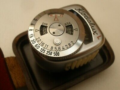 Vintage Kodak Kodalux L Miniature Light Meter In Leather Case  Nice Condition !