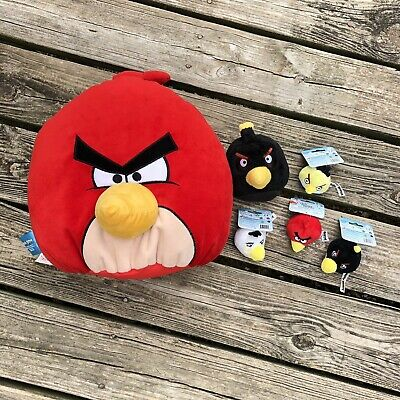 Angry Birds Lot of 4 Finger Puppets/ Pencil Toppers and 2 Plush ~ 7 pc Set