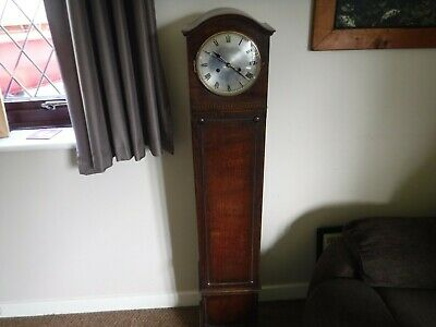 Vintage Oak Cased Granddaughter Clock. Upcycled to Quarts  Movement. Working.