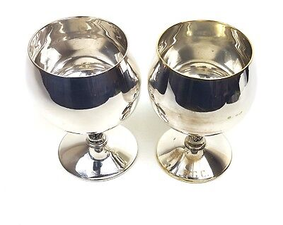 Superb Silver Plated Ornate WINE / BRANDY GOBLETS CHALICES - Pair