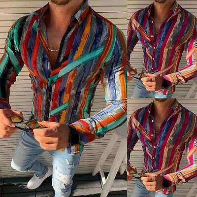 Mens Striped Slim Fit Muscle Formal Dress Shirts Long Sleeve Tops Blouse T-shirt