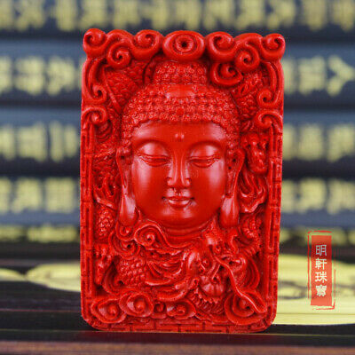 Natural Red Cinnabar Carved Lacquer Chinese Amitabha Buddha Pendant For Necklace