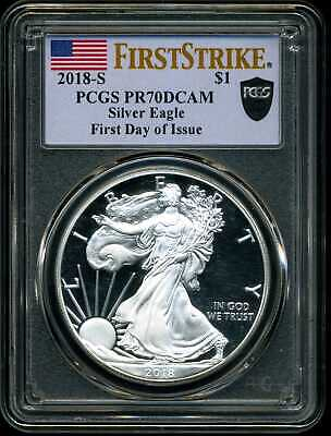 2018-S $1 Proof Silver American Eagle PR70DCAM PCGS First Day of Issue 36297435