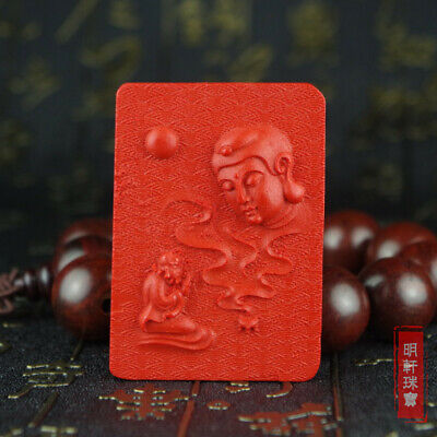 Natural Red Cinnabar Carving Lacquer Chinese Buddha Damo Pendant For Necklace