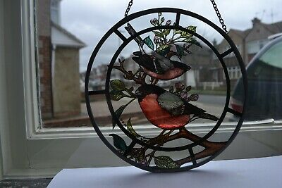 Stained glass painted style bull finch bird hanging decorative roundel. R900d