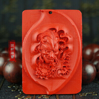 Natural Red Cinnabar Carving Lacquer Chinese Hannya Face Pendant For Necklace