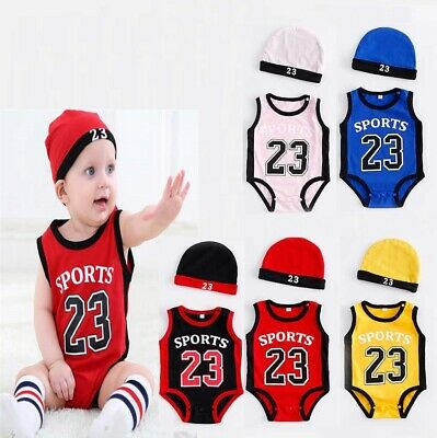 Baby Jordan 23 Romper + Hat Newborn Boy Girl BabyGrow Outfits Clothes By Months