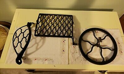 Antique Singer Treadle Sewing Machine Cast Iron Foot Pedal, Belt Guard,And Wheel