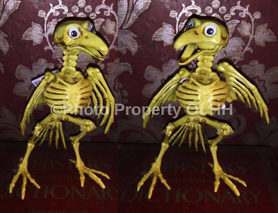 "Set Of 2 Lot 2 Halloween Poseable Crow Skeletons With Wiggly Google Eyes 7"" Prop"