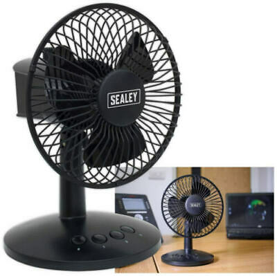 Sealey 15.2cm Mini Piédestal Oscillant Bureau Ventilateur 3-Speed USB / Piles