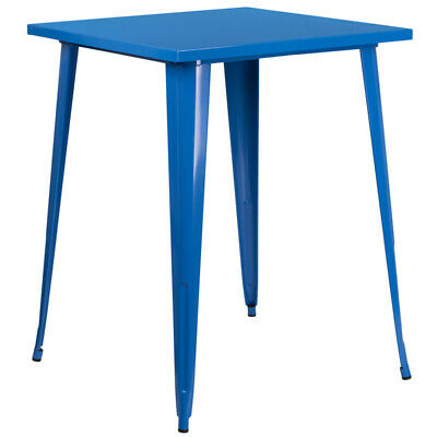 """31.5"""" Square Industrial Style Blue Metal Indoor & Outdoor Restaurant Bar Table"""