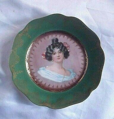 """Antique Victorian Woman bust Lady Rosenthal Crysantheme Bavaria 7.50"""" plate"""