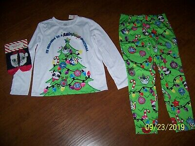 "NWT JUSTICE ""Dreaming of Rainbow Christmas"" PAJAMAS PJ'S SLIPPERS LOT 10 plus 12"