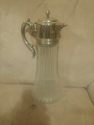 Huge Silver and Clear Glass Wine Claret Carafe with Ice Insert